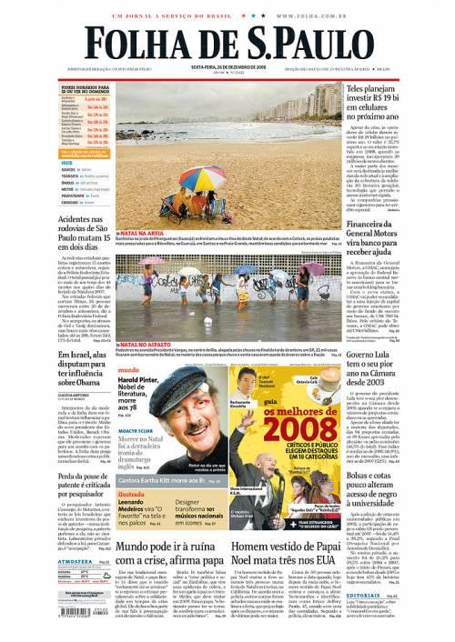 A primeira página do jornal Folha de S.Paulo em 26.12.2008