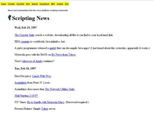 Scripting News, um dos blogs mais antigos de que se tem noticia, e sua aparência em 1997
