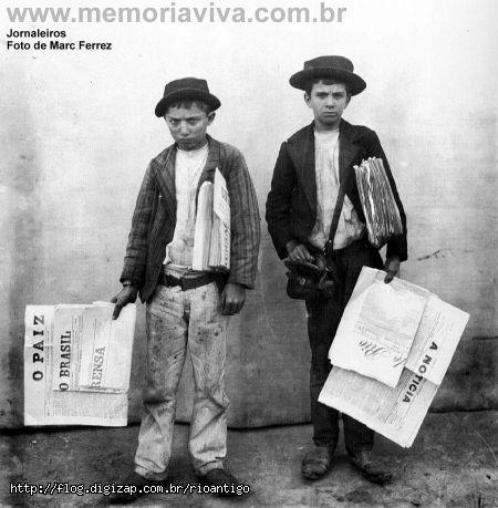 Anos 30: vendedores de jornais no Rio de Janeiro