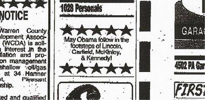 Perdido no meio dos classificados, o insano anúncio que liga Obama aos quatro presidentes norte-americanos assassinados