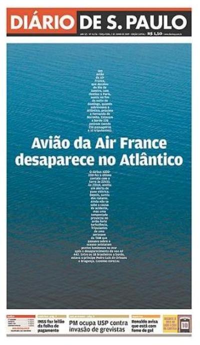 Capa do Diário de São Paulo em 2 de junho de 2009