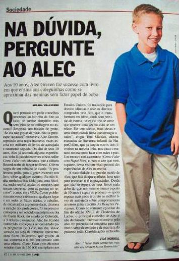 O conselheiro sentimental Alec mereceu um titulão forte na Veja