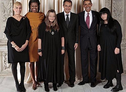 Os casais Obama e Zapatero e as filhas do premiê espanhol, que chocaram pelo visual gótico