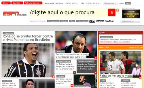A home page da ESPN Brasil: a busca é a rainha